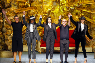 Monica Bellucci and Naomi Campbell at the Dolce & Gabbana menswear